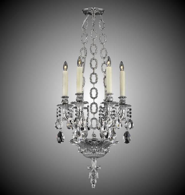 "ABS CH9006-O-08G Blairsden 6Lt Silver w/Oval Precision Crystal Pendant 16"" X 41"" Lamp not inlcuded NEWSTOCK MAY 2019"